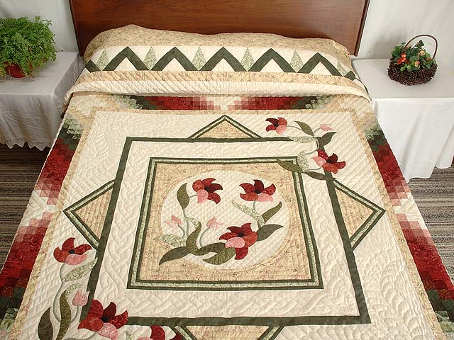 Tan Moss Mint and Burgundy Rainbow Reflections Quilt Photo 1