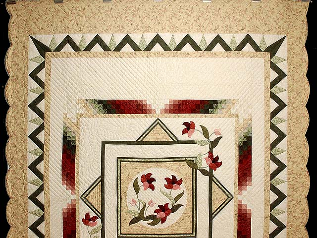 Tan Moss Mint and Burgundy Rainbow Reflections Quilt Photo 2