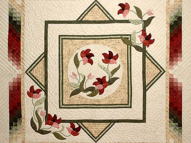Tan Moss Mint and Burgundy Rainbow Reflections Quilt Photo 3