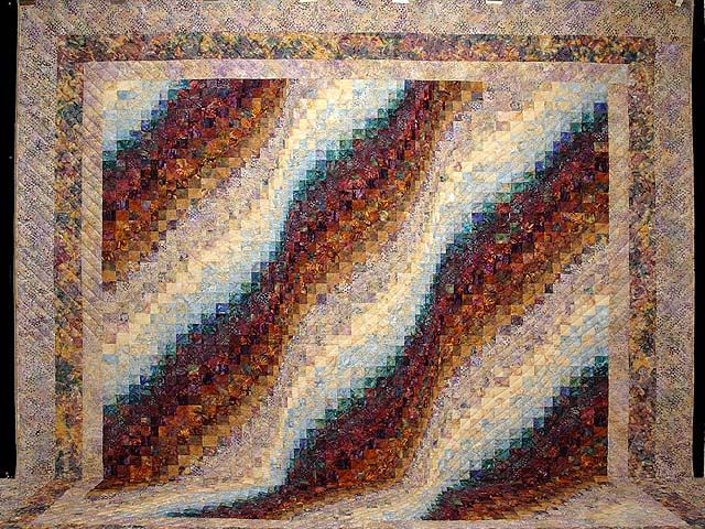 Plum Aqua and Gold Bargello Wave Quilt Photo 2
