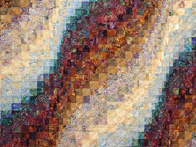 Plum Aqua and Gold Bargello Wave Quilt Photo 3