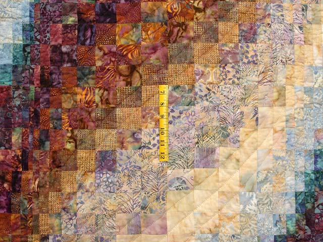 Plum Aqua and Gold Bargello Wave Quilt Photo 4