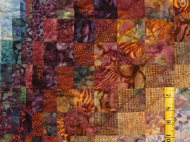 Plum Aqua and Gold Bargello Wave Quilt Photo 5