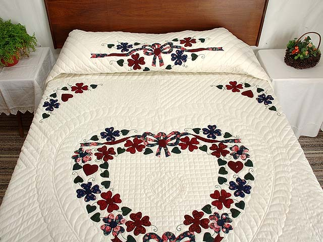 Navy and Burgundy Hearts Bouquet Quilt Photo 1