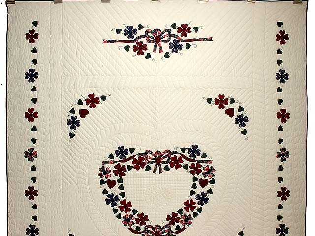 Navy and Burgundy Hearts Bouquet Quilt Photo 2