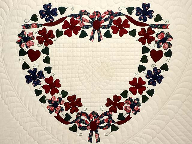 Navy and Burgundy Hearts Bouquet Quilt Photo 4