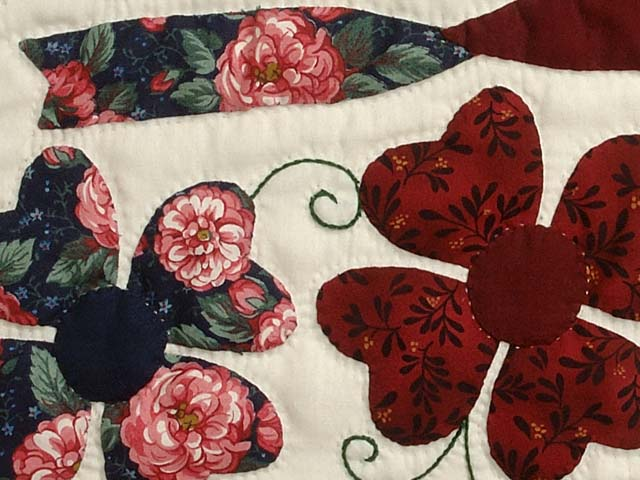 Navy and Burgundy Hearts Bouquet Quilt Photo 6