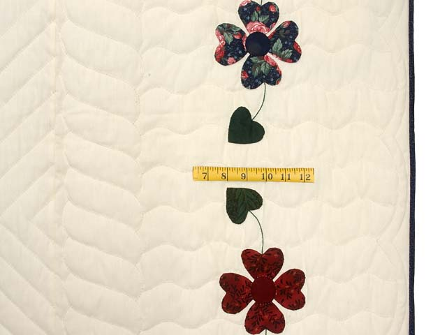 Navy and Burgundy Hearts Bouquet Quilt Photo 7