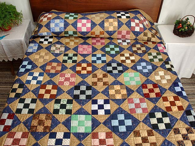 Blue Gold and Multicolor Scrappy Nine Patch Quilt Photo 1