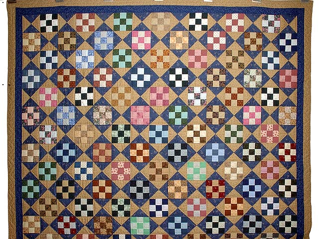 Blue Gold and Multicolor Scrappy Nine Patch Quilt Photo 2