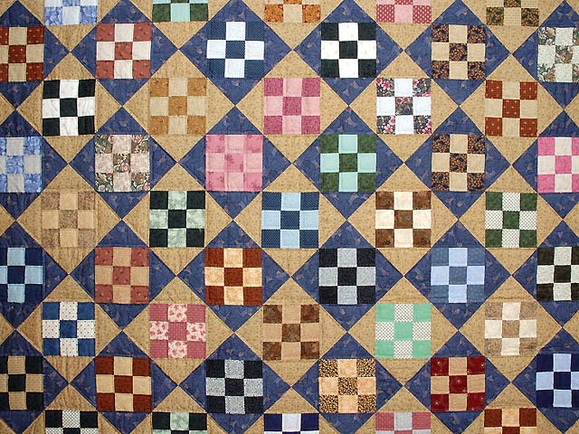 Blue Gold and Multicolor Scrappy Nine Patch Quilt Photo 3