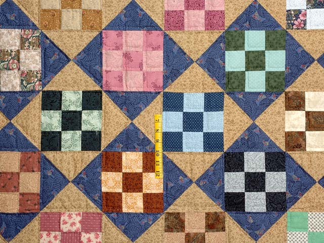 Blue Gold and Multicolor Scrappy Nine Patch Quilt Photo 4