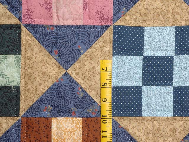 Blue Gold and Multicolor Scrappy Nine Patch Quilt Photo 5