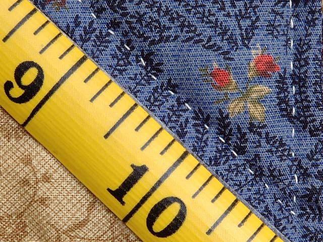 Blue Gold and Multicolor Scrappy Nine Patch Quilt Photo 8