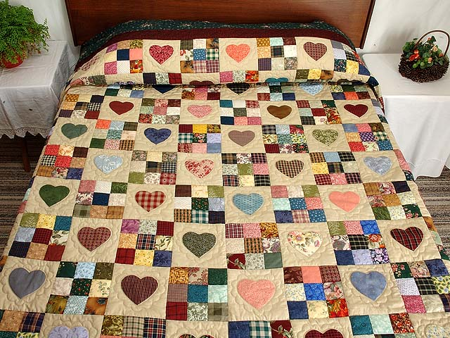 Pine Green Burgundy and Multicolor Hearts and Nine Patch Quilt Photo 1