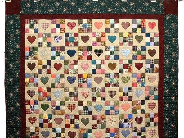 Pine Green Burgundy and Multicolor Hearts and Nine Patch Quilt Photo 2