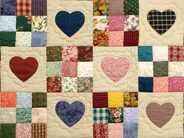 Pine Green Burgundy and Multicolor Hearts and Nine Patch Quilt Photo 3