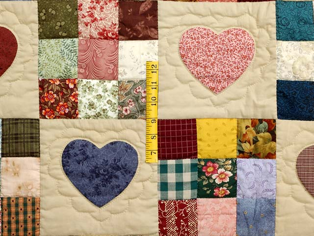 Pine Green Burgundy and Multicolor Hearts and Nine Patch Quilt Photo 4