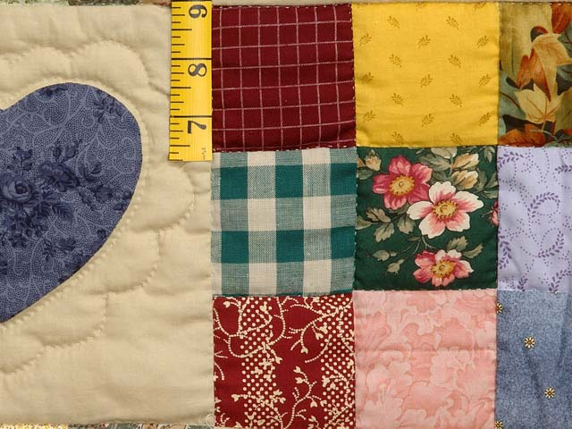 Pine Green Burgundy and Multicolor Hearts and Nine Patch Quilt Photo 5