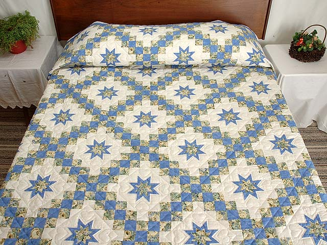 Blue and Yellow Irish Chain with Stars Quilt Photo 1