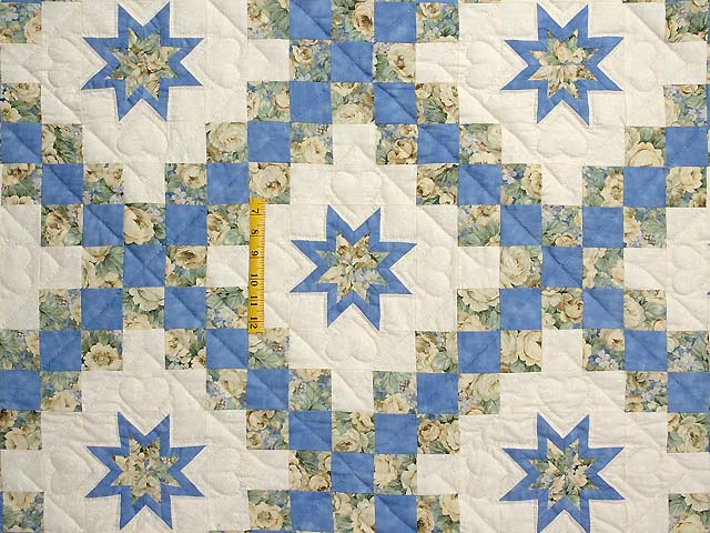 Blue and Yellow Irish Chain with Stars Quilt Photo 4