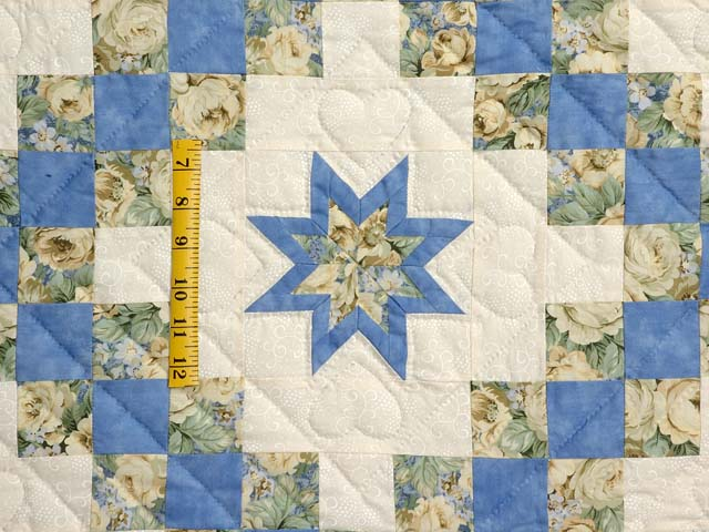 Blue and Yellow Irish Chain with Stars Quilt Photo 5
