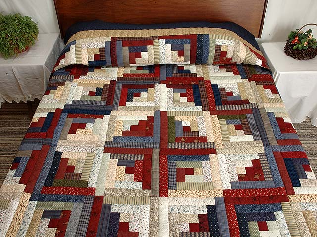 Burgundy Tan and Navy Log Cabin Quilt Photo 1