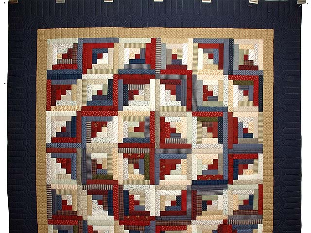 Burgundy Tan and Navy Log Cabin Quilt Photo 2