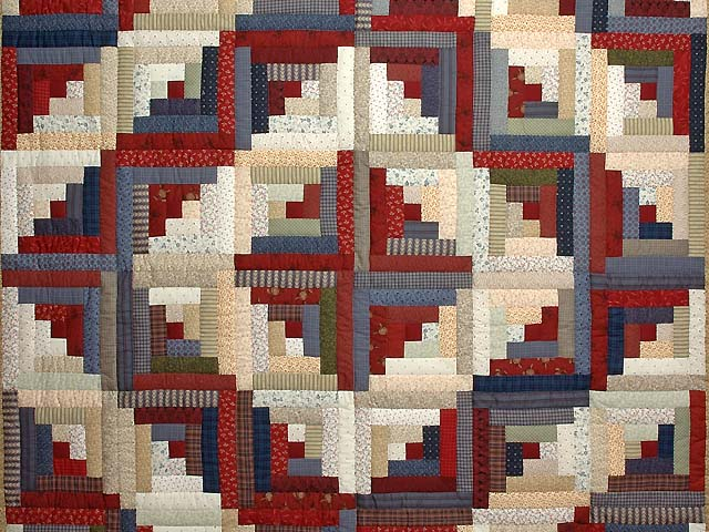 Burgundy Tan and Navy Log Cabin Quilt Photo 3