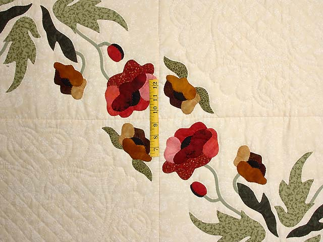 Green Red and Gold Poppy Fields Quilt Photo 4