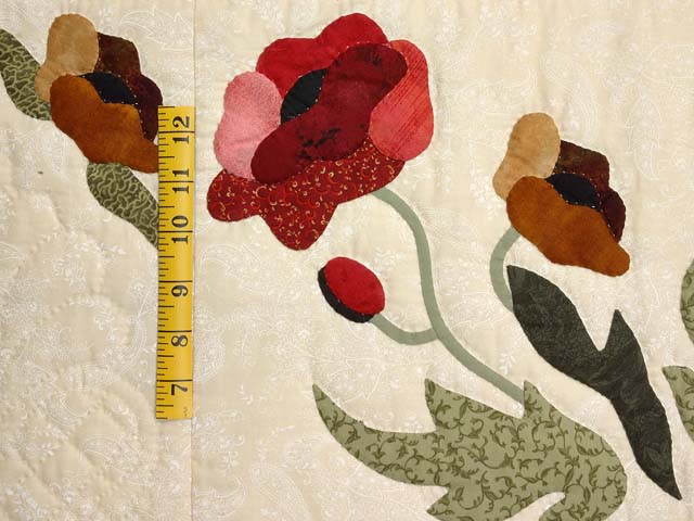 Green Red and Gold Poppy Fields Quilt Photo 5