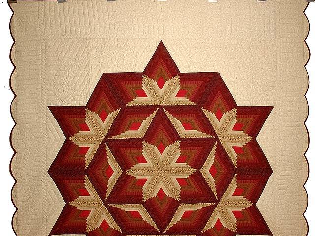 Red and Gold Diamond Star Log Cabin Quilt Photo 2