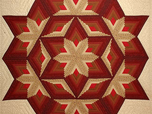 Red And Gold Diamond Star Log Cabin Quilt Photo 3