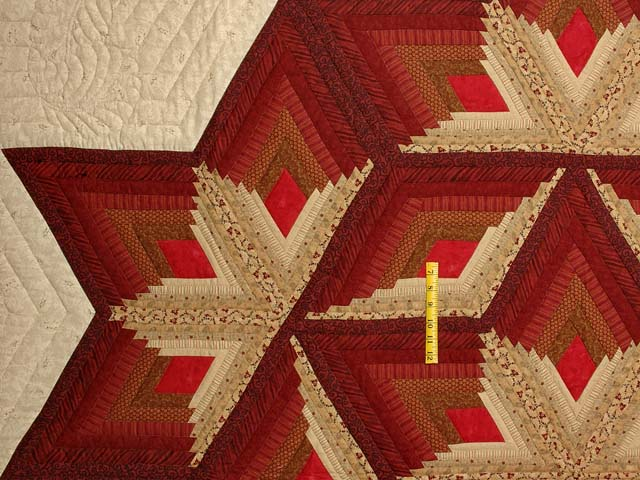 Red and Gold Diamond Star Log Cabin Quilt Photo 4