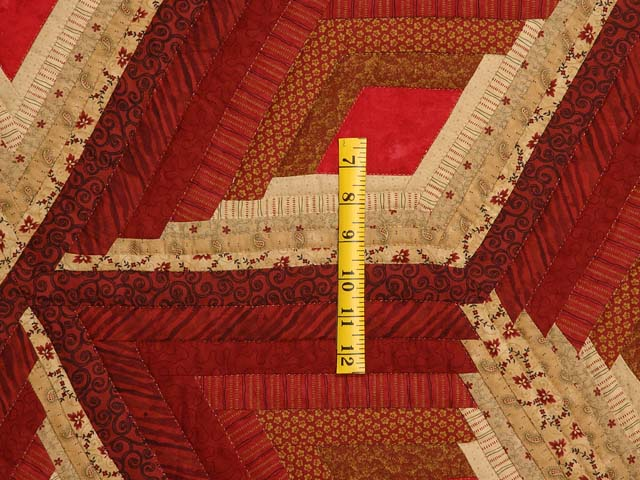 Red and Gold Diamond Star Log Cabin Quilt Photo 5