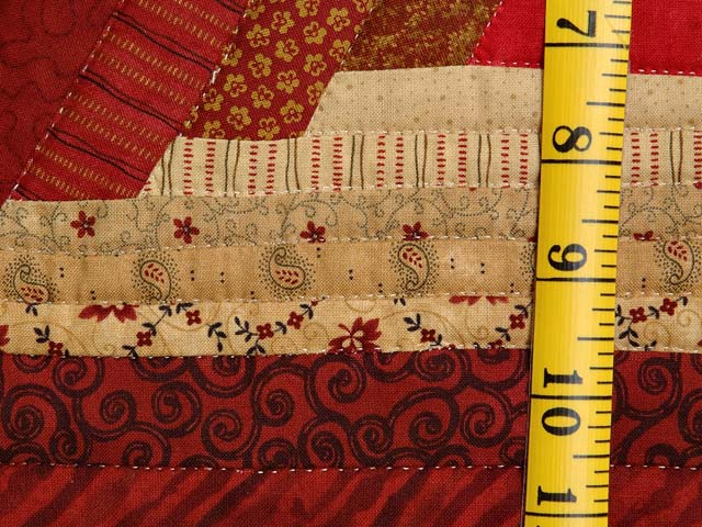 Red and Gold Diamond Star Log Cabin Quilt Photo 6