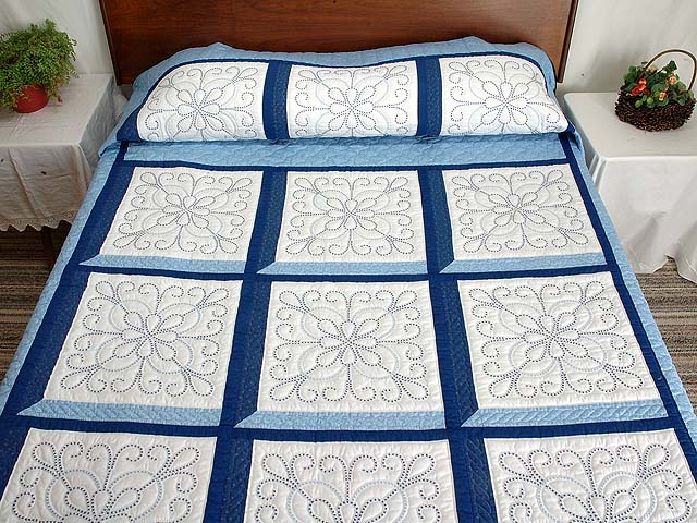 Blue and Navy Cross Stitch Quilt Photo 1