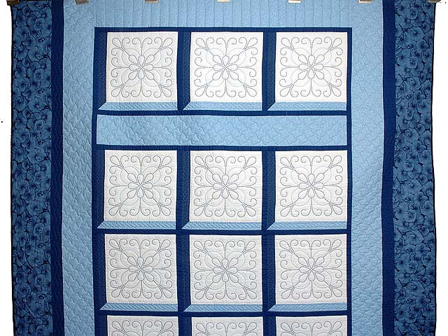 Blue and Navy Cross Stitch Quilt Photo 2