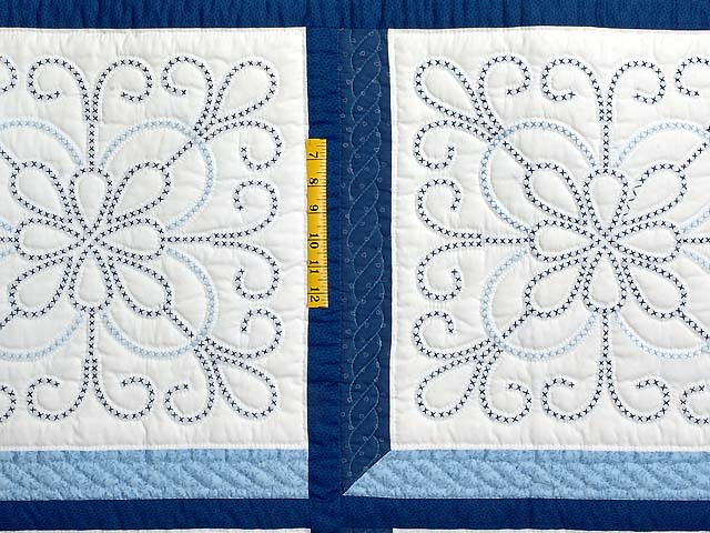 Blue and Navy Cross Stitch Quilt Photo 4