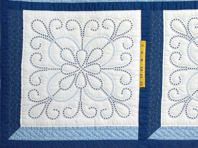 Blue and Navy Cross Stitch Quilt Photo 5