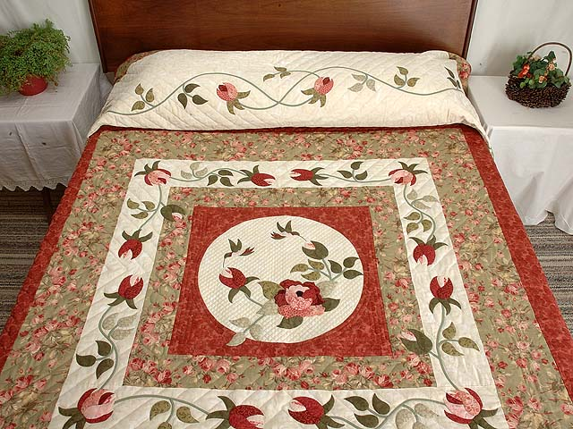 Ivory Sage and Paprika I Promised You a Rose Garden Quilt Photo 1