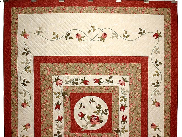 Ivory Sage and Paprika I Promised You a Rose Garden Quilt Photo 2