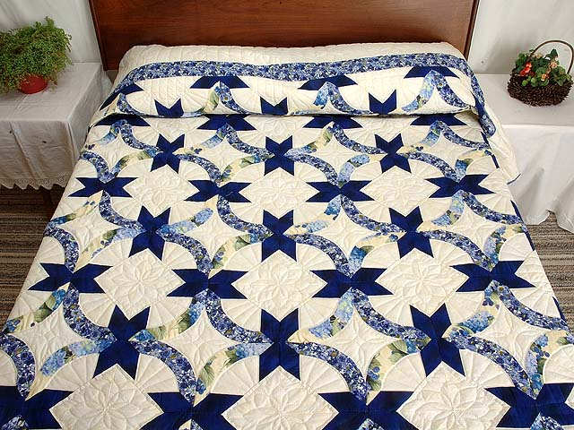Blue and Yellow Lovers Knot Quilt Photo 1