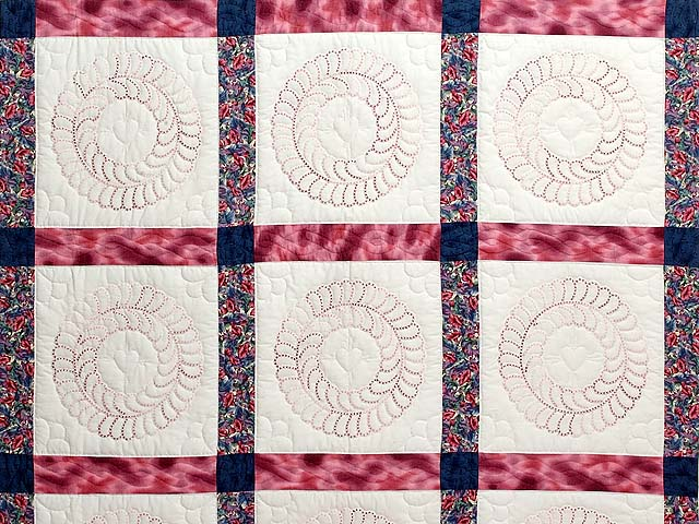 Rose and Blue Cross Stitch Quilt Photo 3