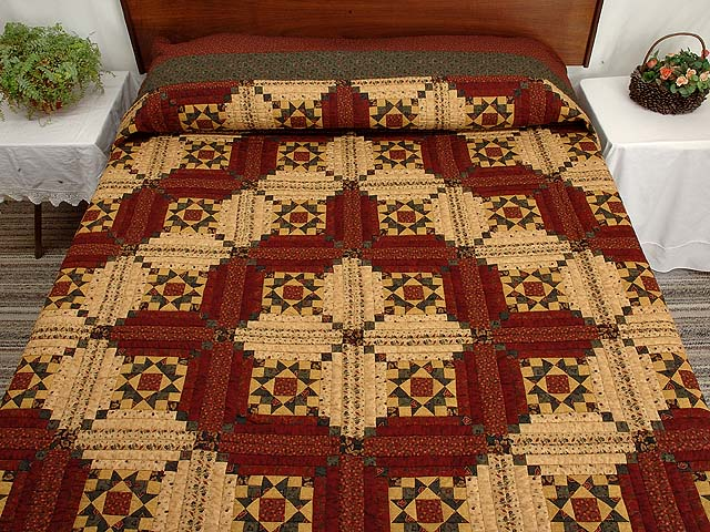 Burgundy Gold and Green Stars in the Cabin Quilt Photo 1