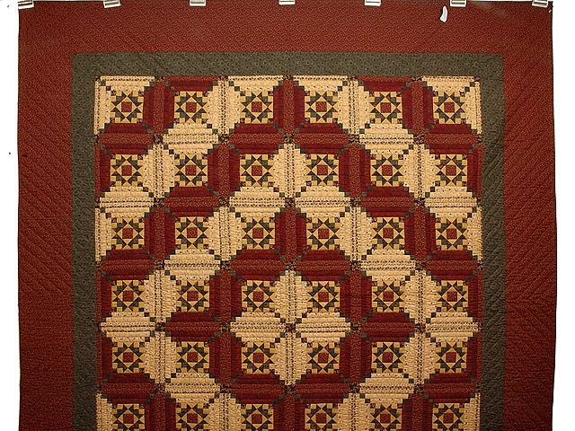 Burgundy Gold and Green Stars in the Cabin Quilt Photo 2
