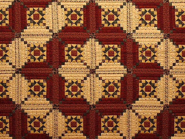 Burgundy Gold and Green Stars in the Cabin Quilt Photo 3