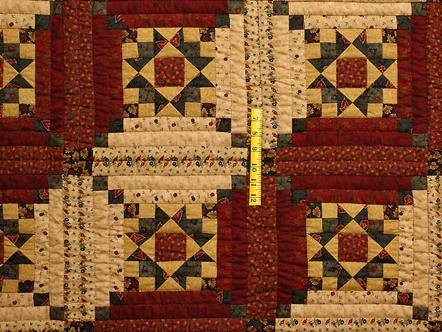 Burgundy Gold and Green Stars in the Cabin Quilt Photo 4