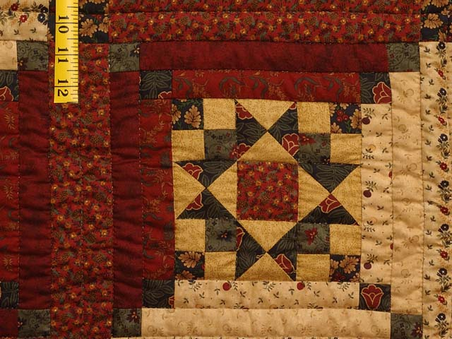 Burgundy Gold and Green Stars in the Cabin Quilt Photo 5