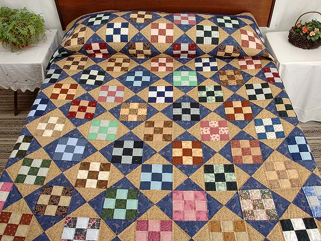 Blue Tan and Multicolor Scrappy Nine Patch Quilt Photo 1